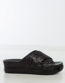 Sandalia SECRET plataforma tiras glitter - negro ASH